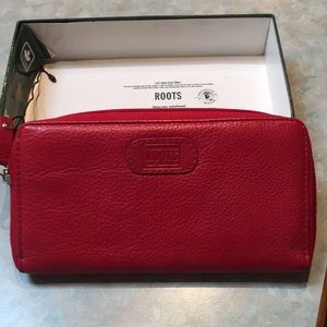 Roots red leather wallet